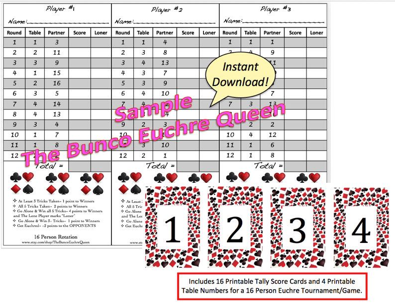 Person Euchre Rotation Score Sheet  Score Card  Euchre Tally