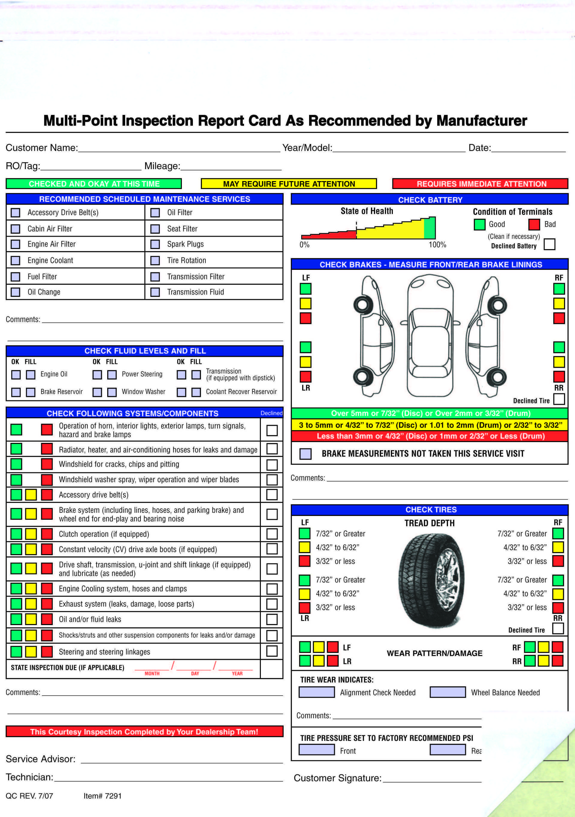 Free Printable Vehicle Inspection Form
