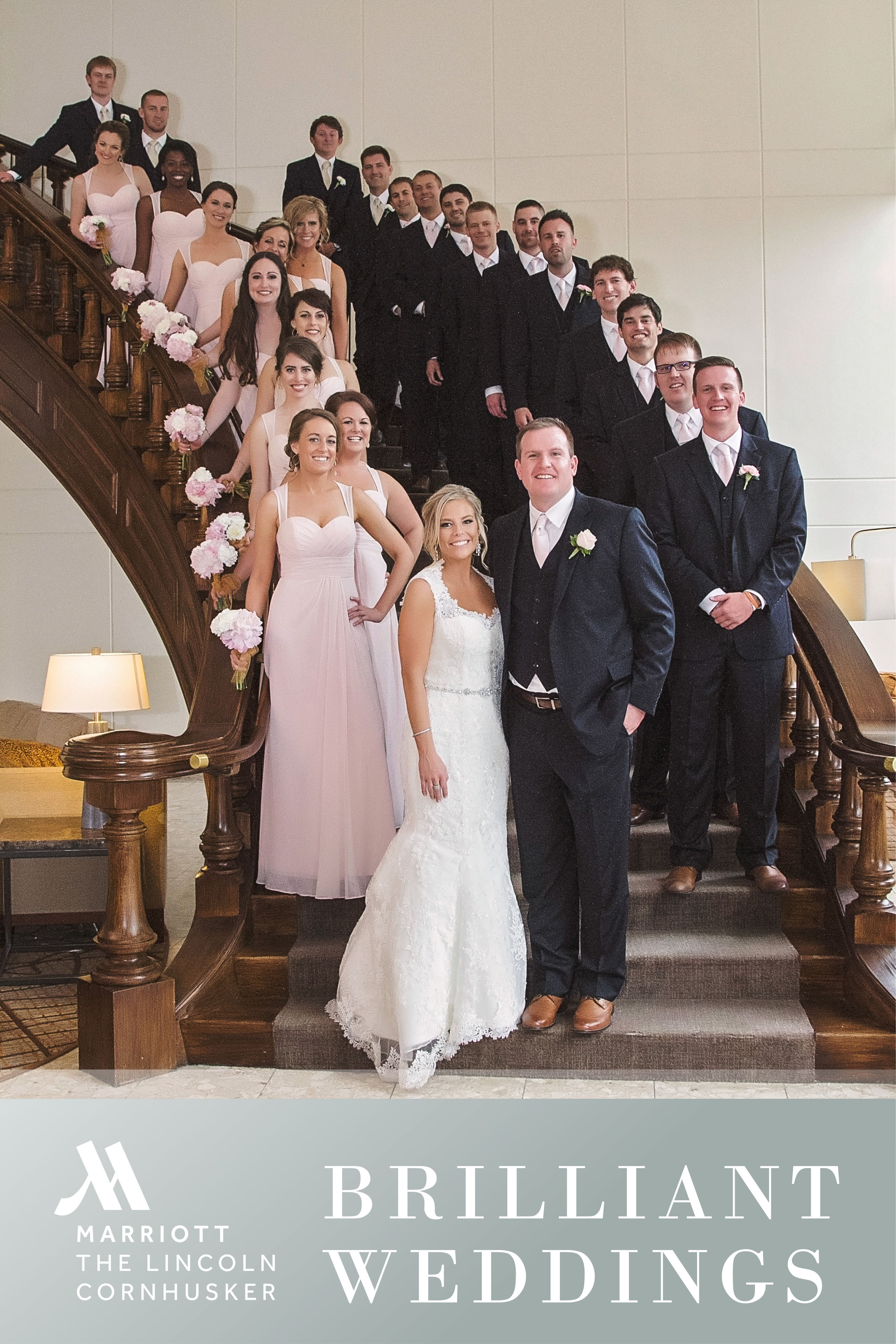 Remember Your Wedding With A Classic Photo On The Grand Staircase Of The Lincoln Marriott Cornhusker Hotel Www Cor Wedding Bridesmaid Dresses Wedding Dresses