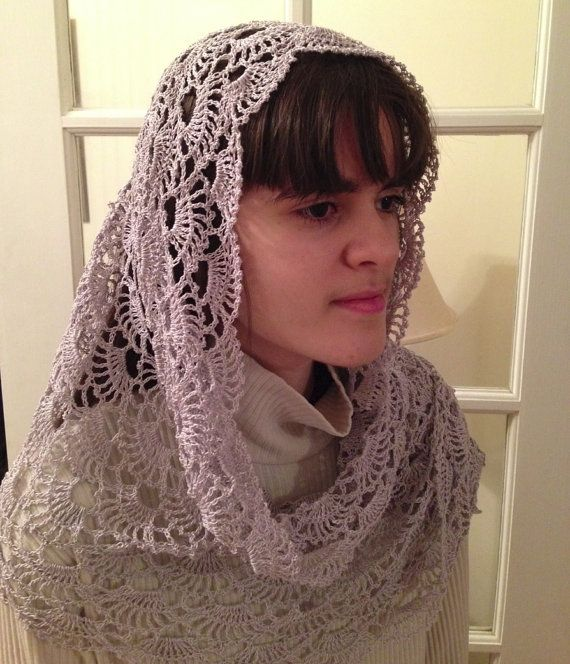 Lillie Rectangular Crocheted Chapel Veil in Silver