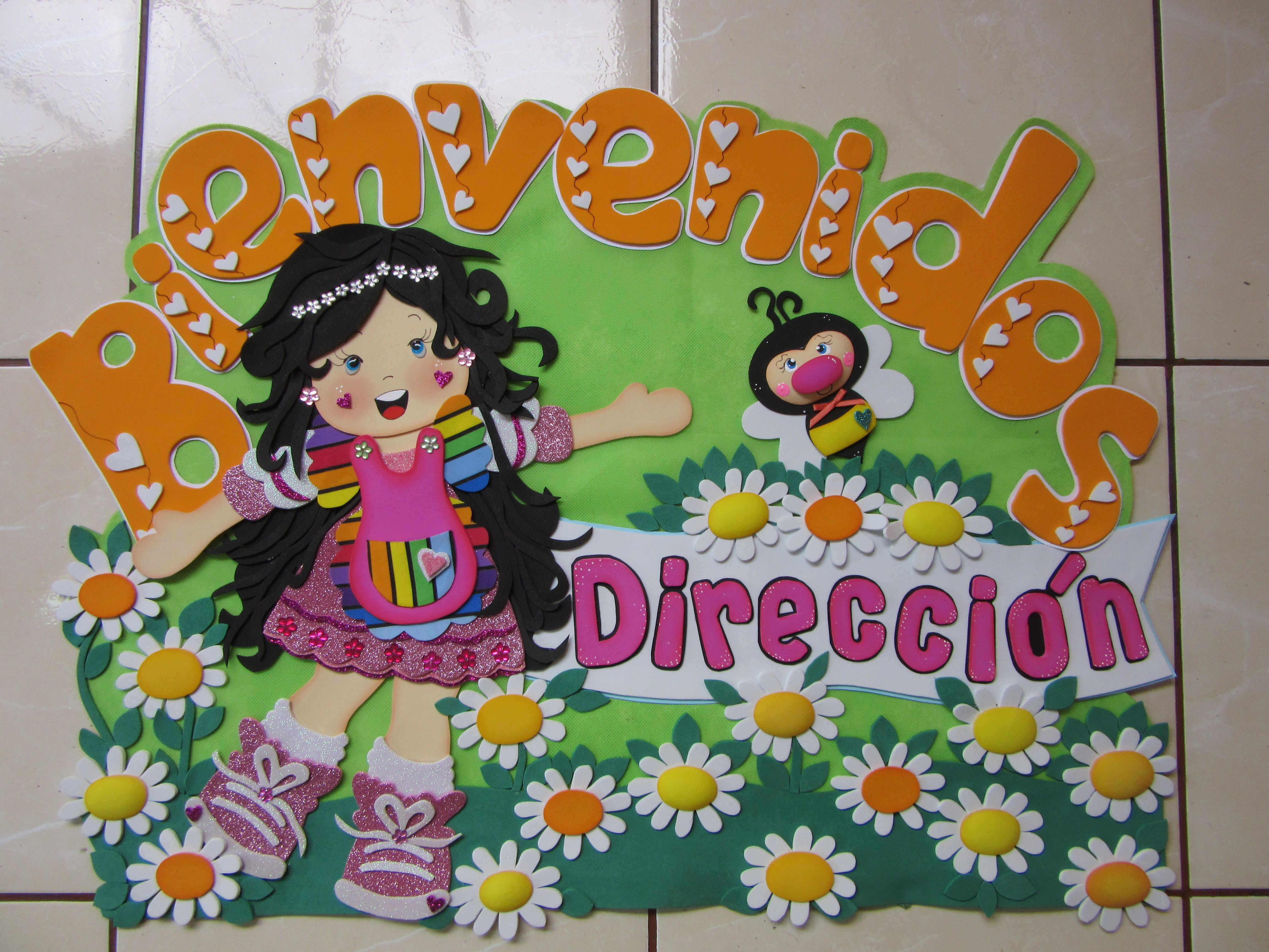 Cartel Para Puerta Hecha Con Goma Eva Flower Crafts Spring Crafts Crafts