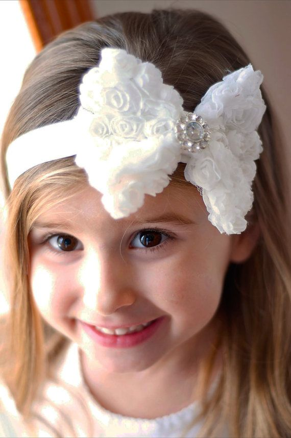 White Rose Bow on White headband Baby Girl Headband by TreenaBean on Etsy