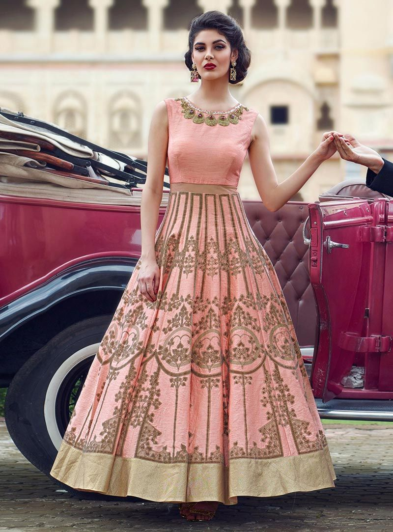 b38d53bcda Buy Peach Banglori Silk Party Wear Gown 85286 online at lowest price from  our mens indo western collection at m.indianclothstore.c.