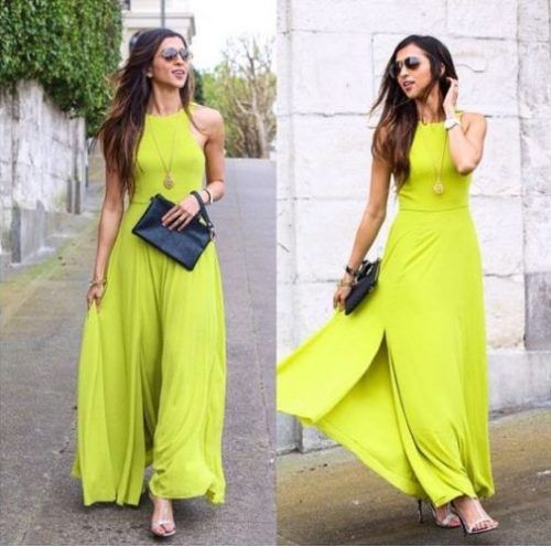 lime green maxi dress- How to dress smart casual in summer http ...
