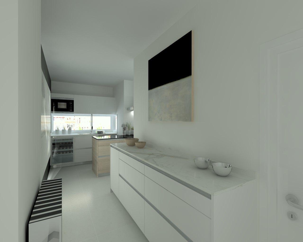 cocina santos modelo line laminado seda blanco encimera mrmol carrara y granito titanium