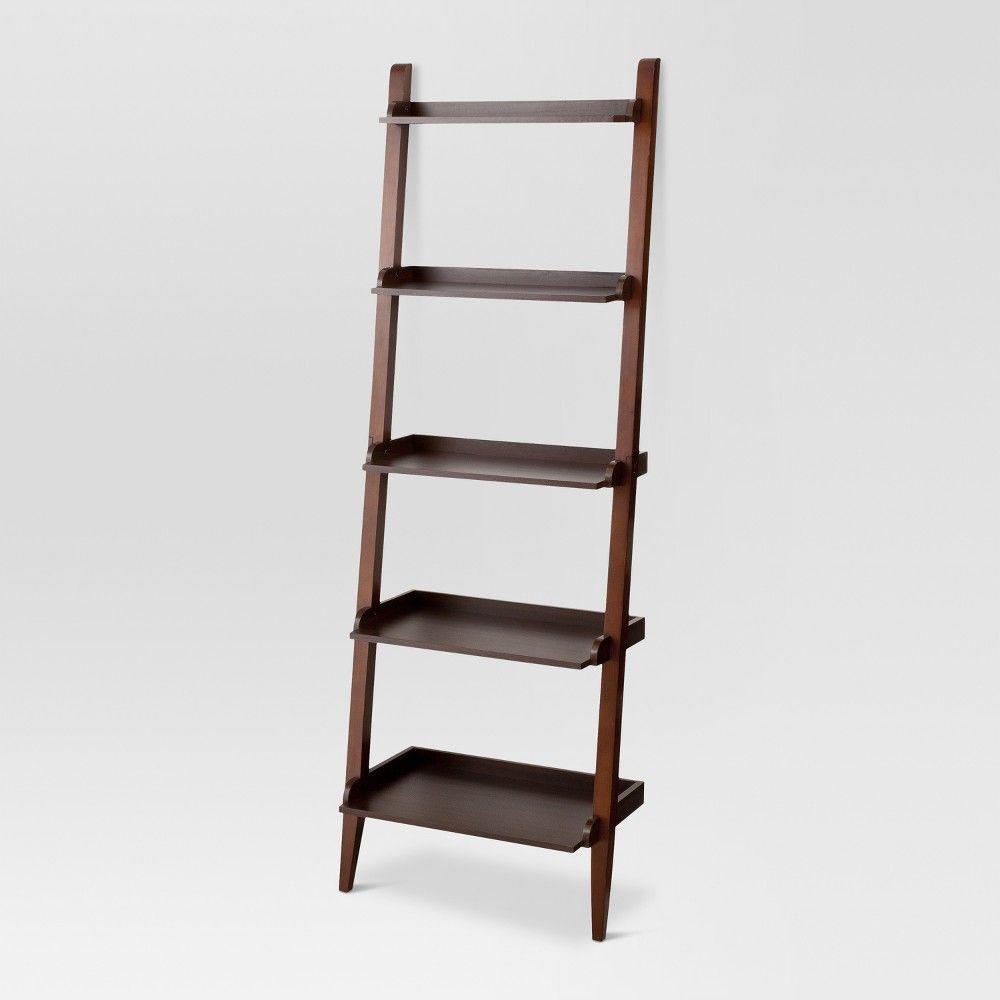 72 Carson Leaning Bookcase Espresso Threshold Brown