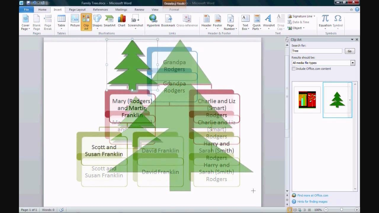 how to build a family tree in word
