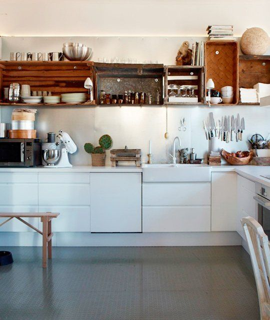Upper Kitchen Cabinet Decorations: Would You Do It? Eclectic, Mismatched Upper Kitchen