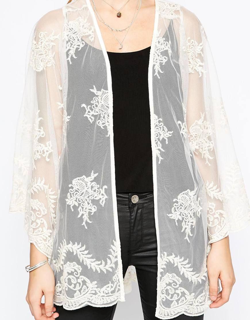 Image 3 of Navy London Sheer and Lace Premium Kimono | Fashion ...