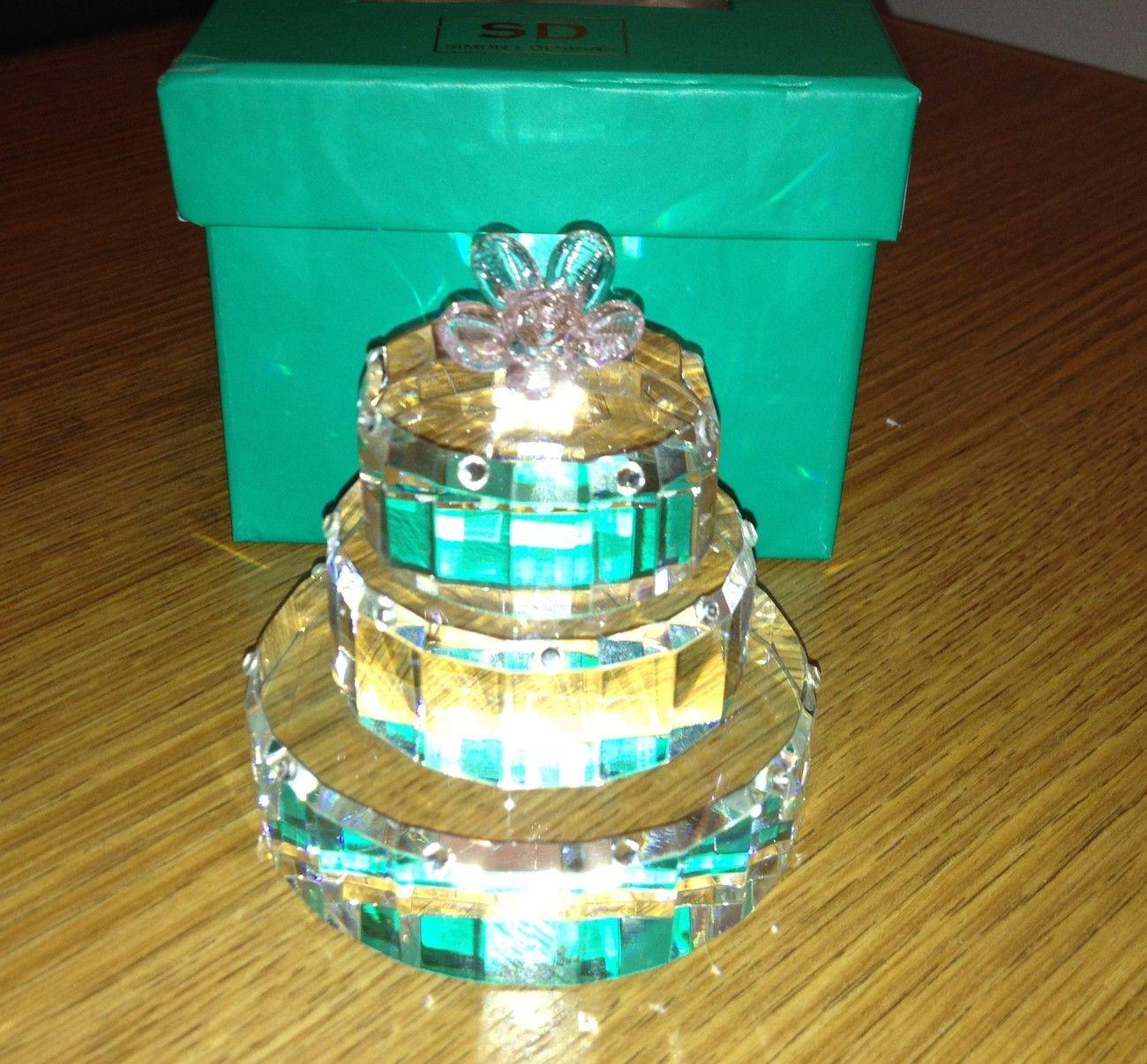 Crystal Birthday Cake Paperweight