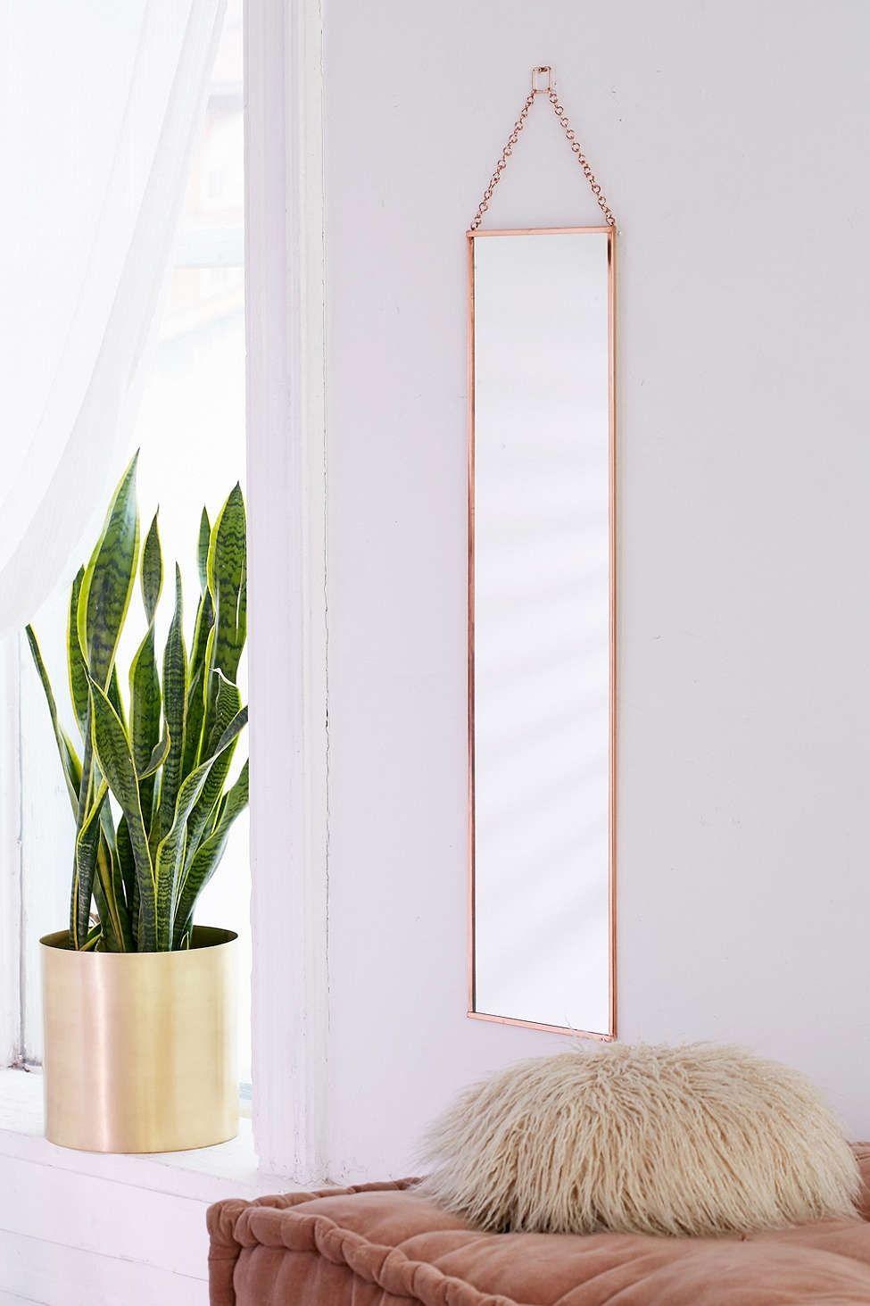 Annika full length hanging mirror hanging mirrors urban for Long gold wall mirror