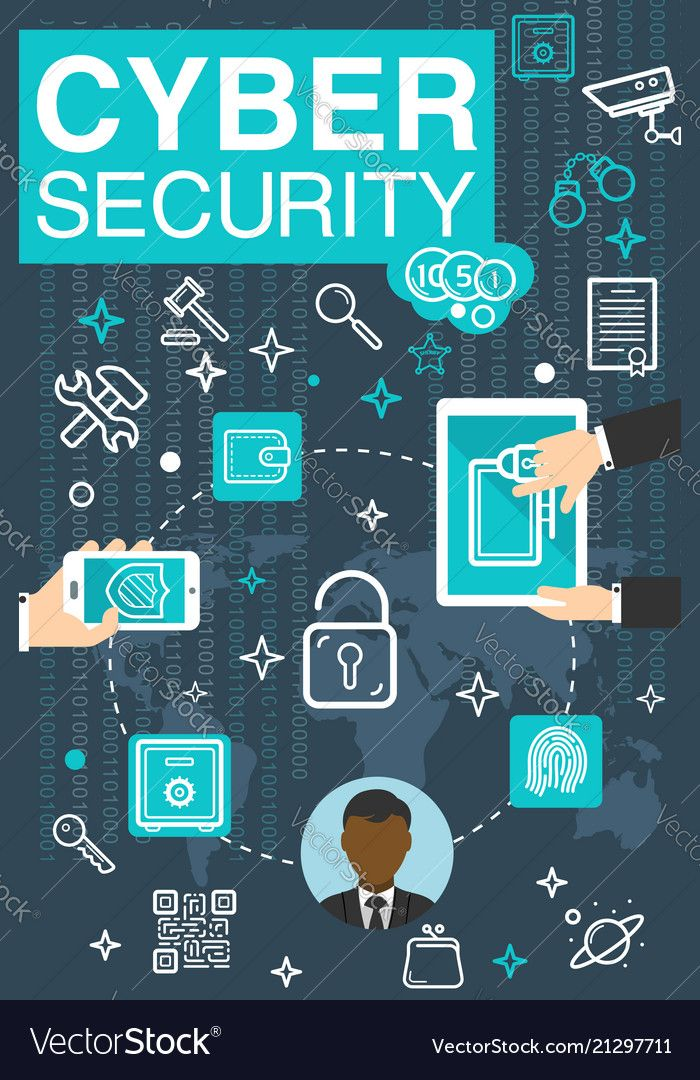 Poster of online cyber security vector image on Cyber