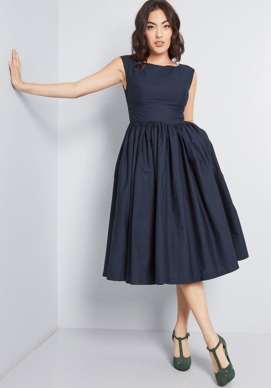 Fabulous Fit And Flare Dress With Pockets In Navy With Images Flare Dress Fit And Flare Dress Nice Dresses