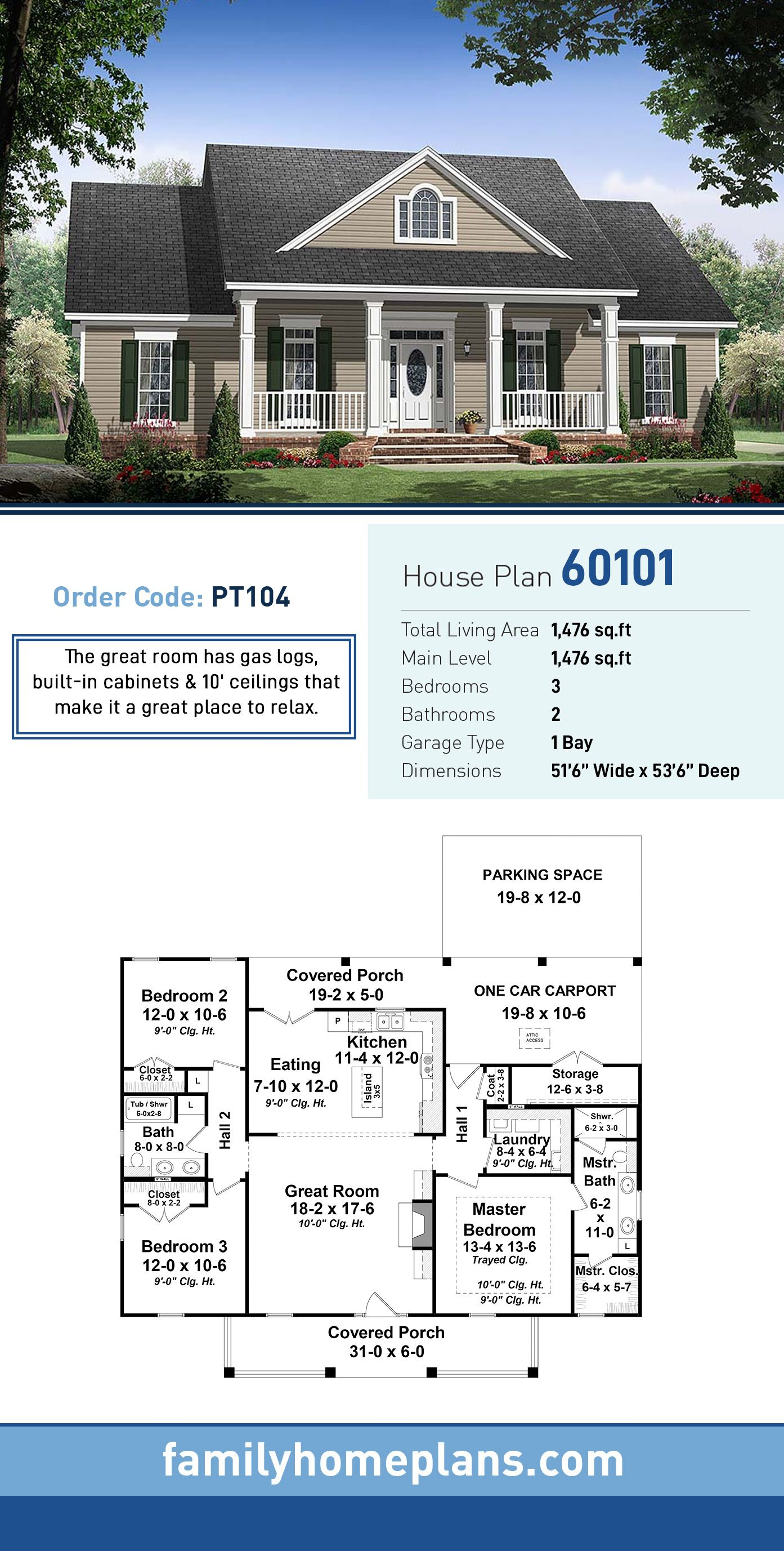 Traditional Style House Plan 60101 With 3 Bed 2 Bath 1 Car Garage Country House Plans Ranch House Plans Craftsman House Plans