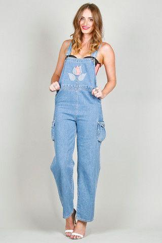 Baby Blue Flower Denim Overalls   Ela Hawke Vintage $79   #elahawkevintage #vintage #overalls #denim