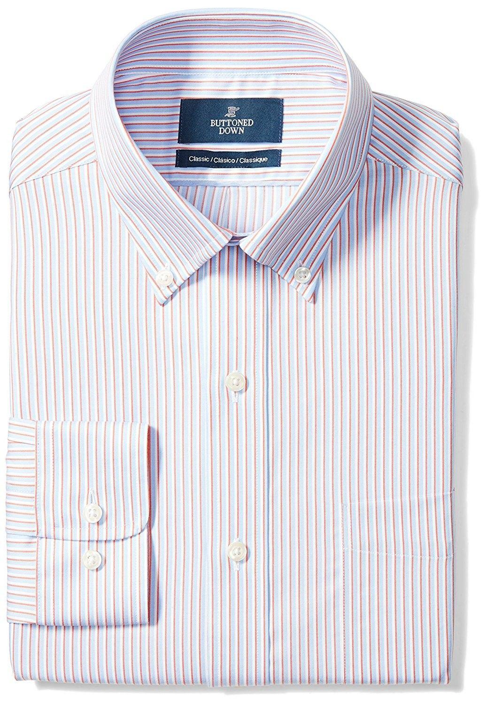 90addbd7 Men's Clothing, Shirts, Dress Shirts, Men's Classic Fit Button-Collar  Pattern Non-Iron Dress Shirt With Pocket - orange/blue stripe - CA187D9L0RR  #fashion ...