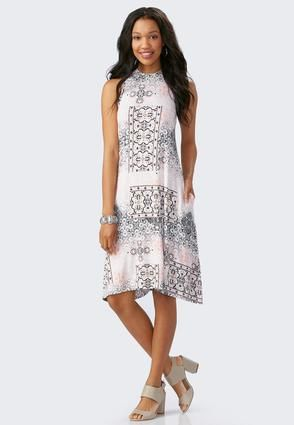 aa0701905d Cato Fashions Scroll Patchwork Sharkbite Swing Dress  CatoFashions ...