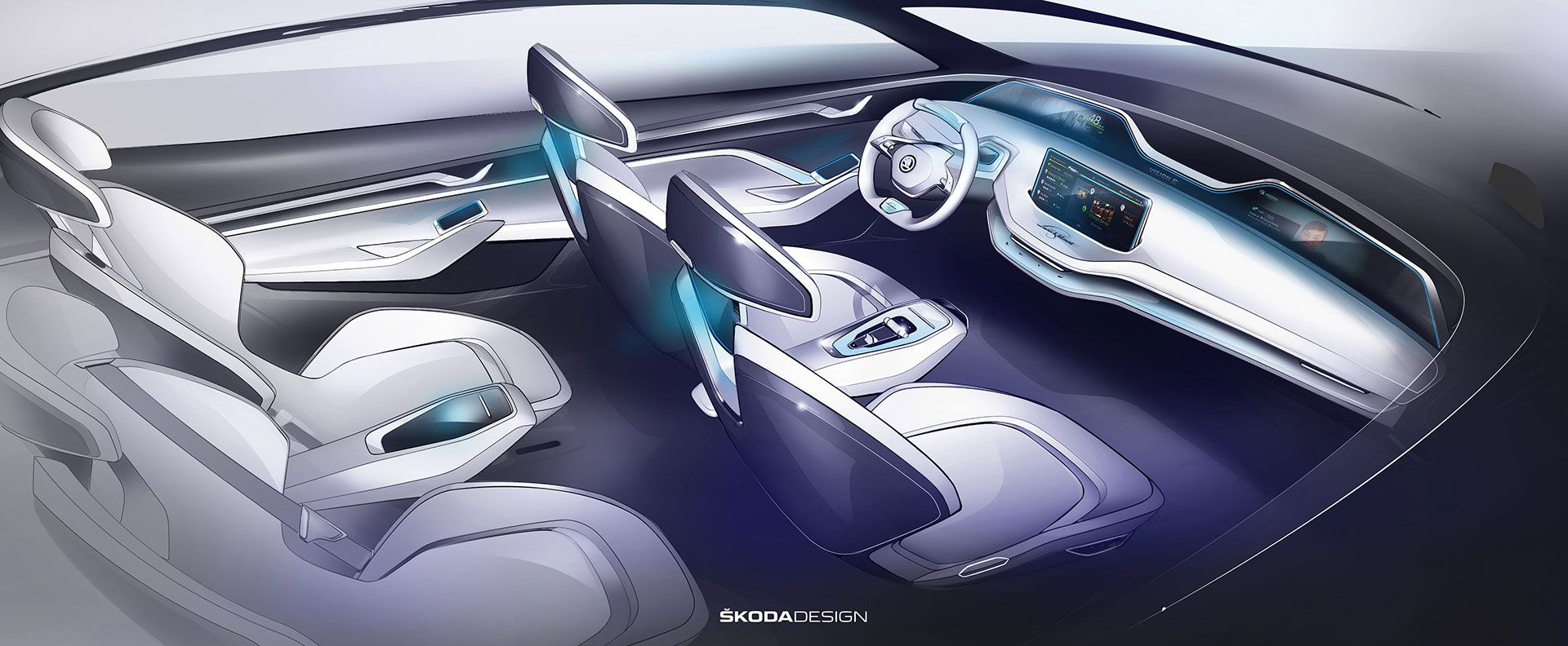 Skoda Vision E Concept Interior Design Sketch Render Car Design