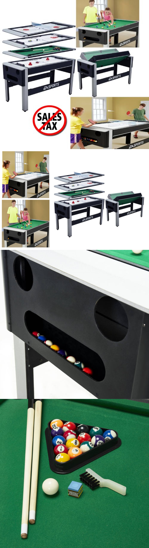Other Indoor Games 36278: 4 In 1 Swivel Combo Multi Game Billiards Pool  Bowling Hockey