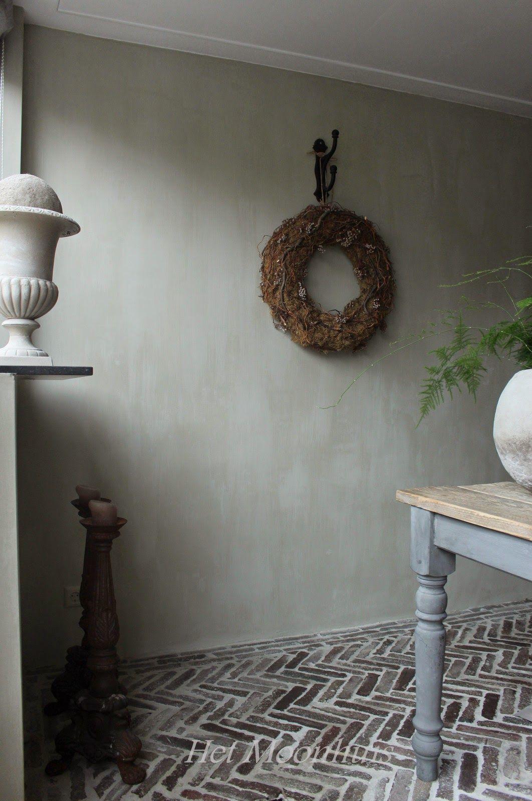 kalkverf damast grijstint met beetje groen erdoor shabby chic franz sischer landhausstil. Black Bedroom Furniture Sets. Home Design Ideas