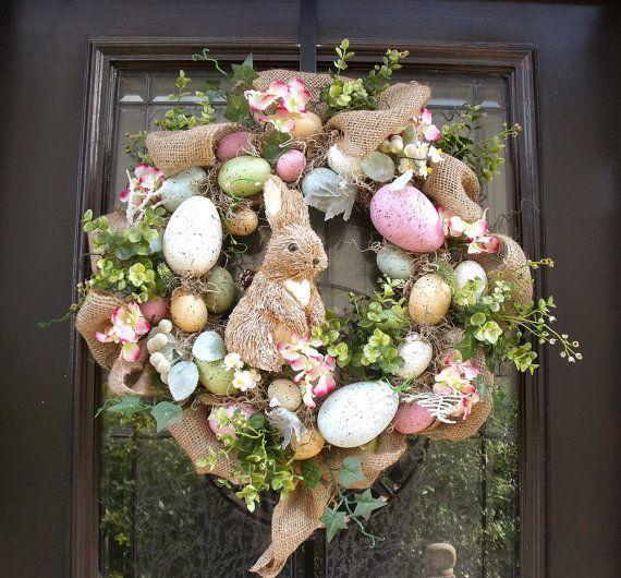 Easter Egg Wreath, Easter Bunny Wreath, Front Door Wreath Burlap ...