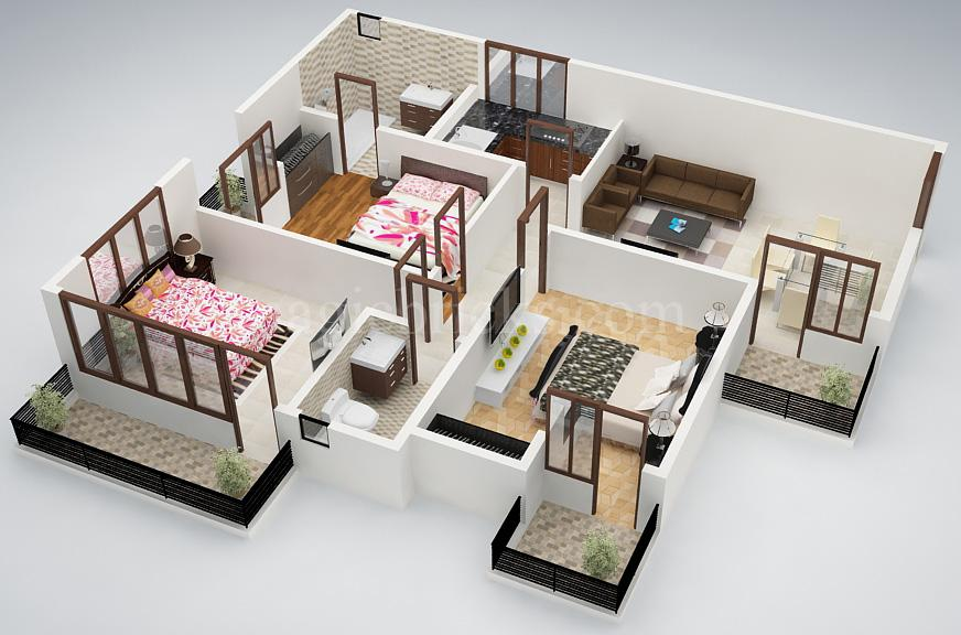 25 Three Bedroom House Apartment Floor Plans Three Bedroom House