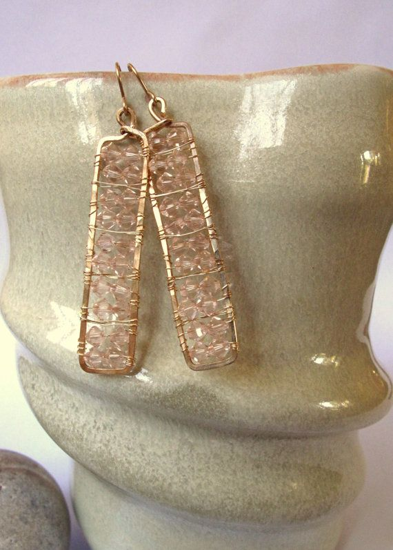 Hammered Gold Rectangle Earrings Wire Wrapped Crystal Handmade Jewelry-Elisabeth Street Studio