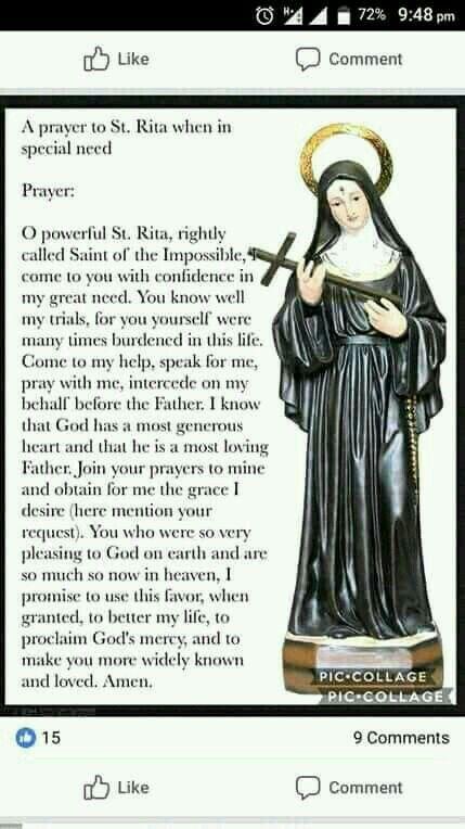 Pin By Deborah Sullivan On Facebook Inspiration Catholic Prayers Prayer To St Rita Miracle Prayer