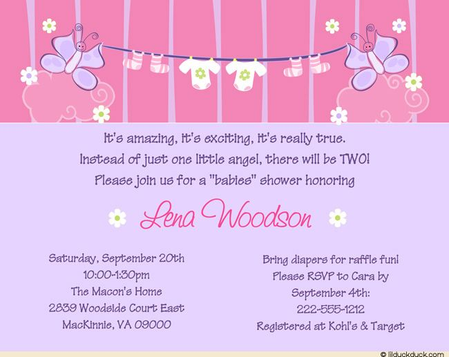 Butterfly Laundry Baby Shower Invitation Girls Clothesline Pink - Pink baby shower invitation templates