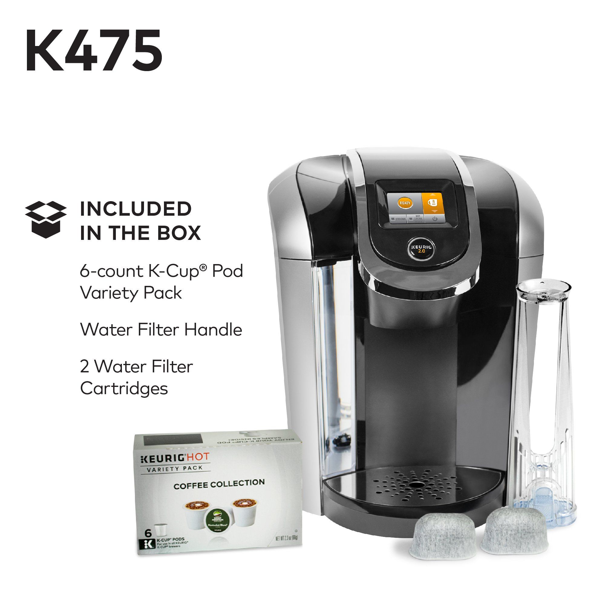 Keurig K475 Single Serve Kcup Pod Coffee Maker With 12oz Brew Size Strength Control And Pod Coffee Makers Coffee Maker With Grinder Single Serve Coffee Makers