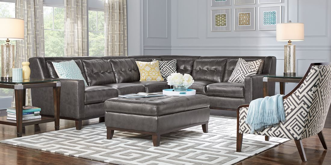 San Giovanni Gray 4 Pc Leather Sectional Rooms To Go Sectional