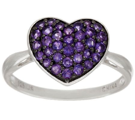 Amethyst Pave Heart Design Sterling Ring 0.50 ct tw