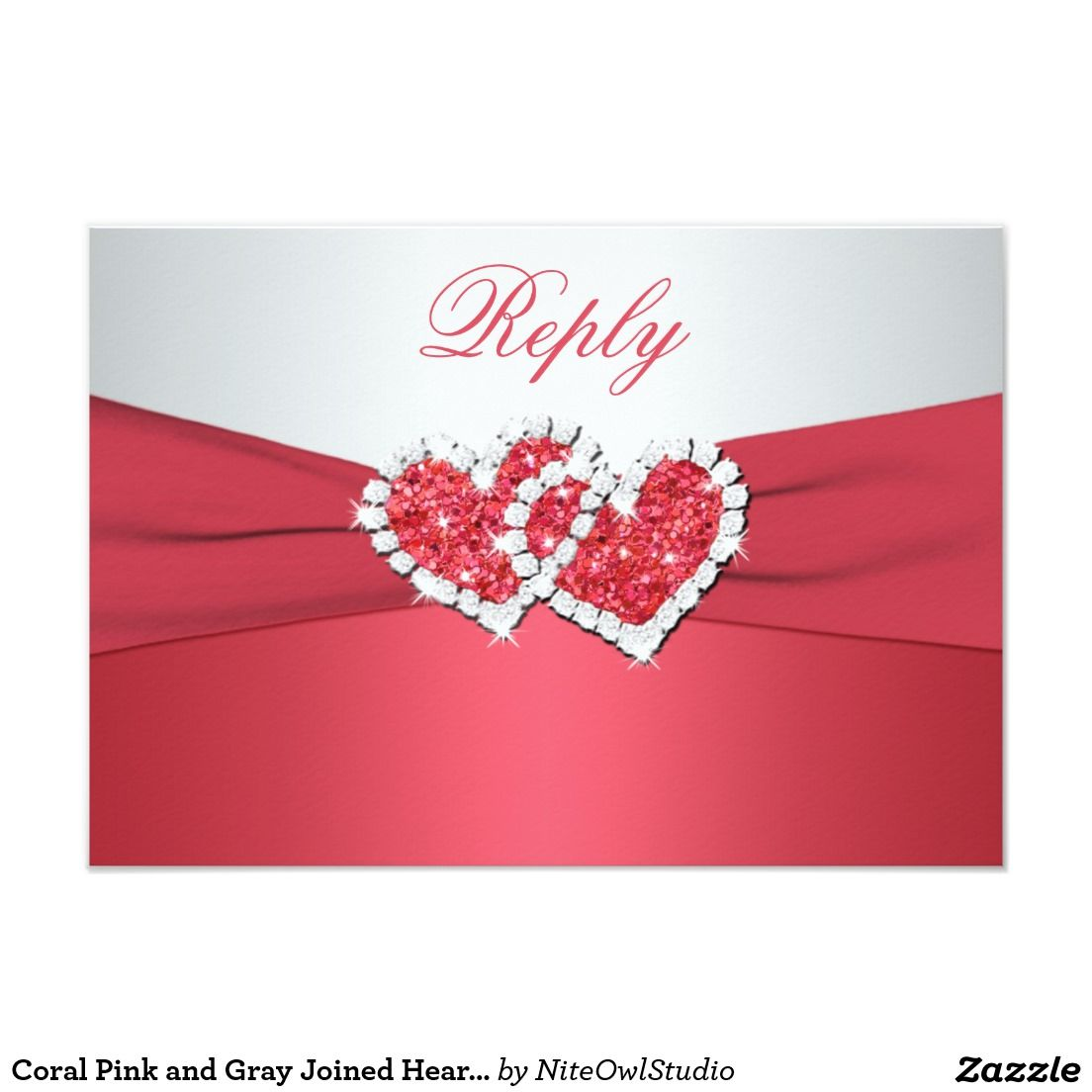Coral Pink and Gray Joined Hearts Reply Card | Coral pink and Wedding