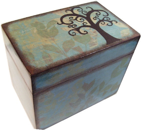 recipe box decoupaged tree box large handcrafted kitchen storage