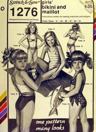 1988 Stretch & Sew sewing pattern: girls 2-pc BIKINI & 1-pc MAILLOT SWIMSUITS