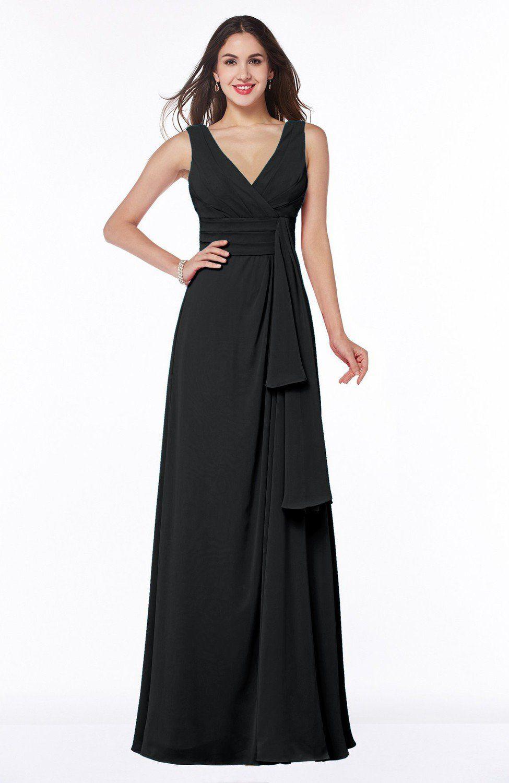 Black bridesmaid dress vintage sleeveless zipper floor length long