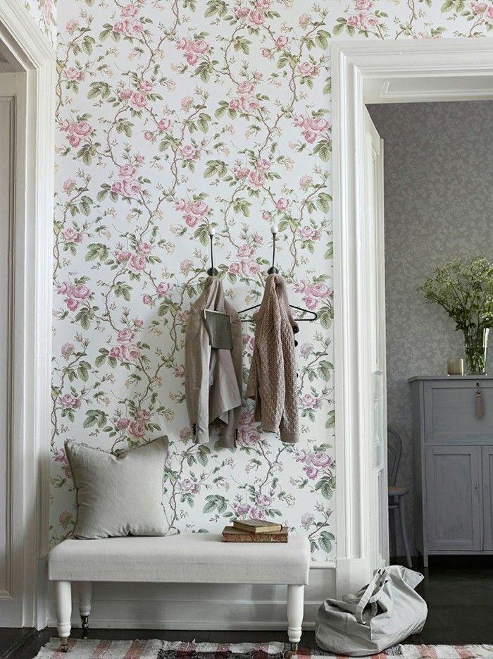 Tapeten Fur Den Flur Rosa Blumen Und Grune Blatter Tapete Flur Wohnzimmer Tapeten Ideen Wandgestaltung Wohnzimmer Tapete