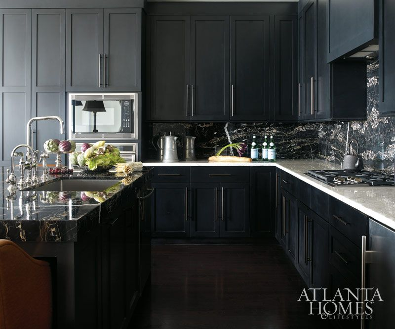 Design By Beth Webb Photography By Emily Followill Atlanta Homes Lifestyles Black Kitchens Kitchen Design Small Kitchen Cabinets