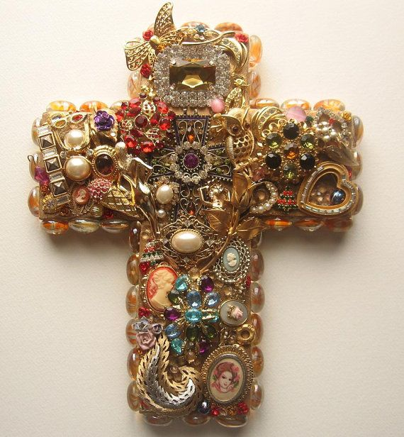 Handmade Recycled Jewelry Wall Cross By Happybdaytome On