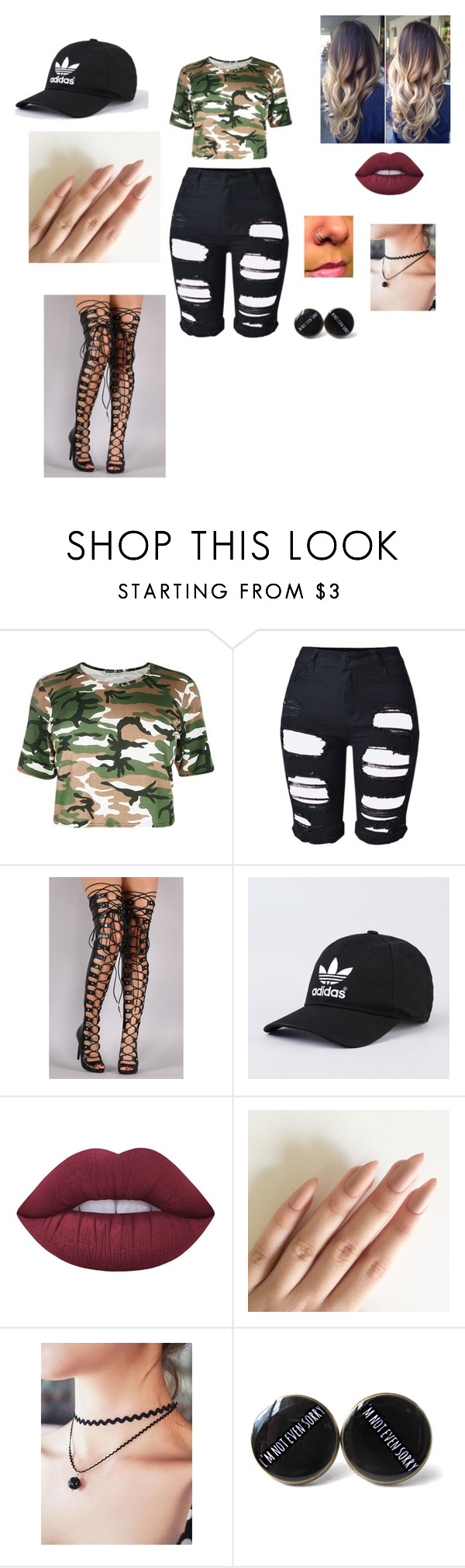 """""""Camo"""" by shakurahsmith ❤ liked on Polyvore featuring Topshop and Lime Crime"""