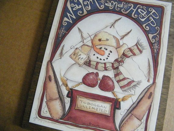 Country Primitive Wood SNOWMAN Sign WARM & HAPPY by carolalden