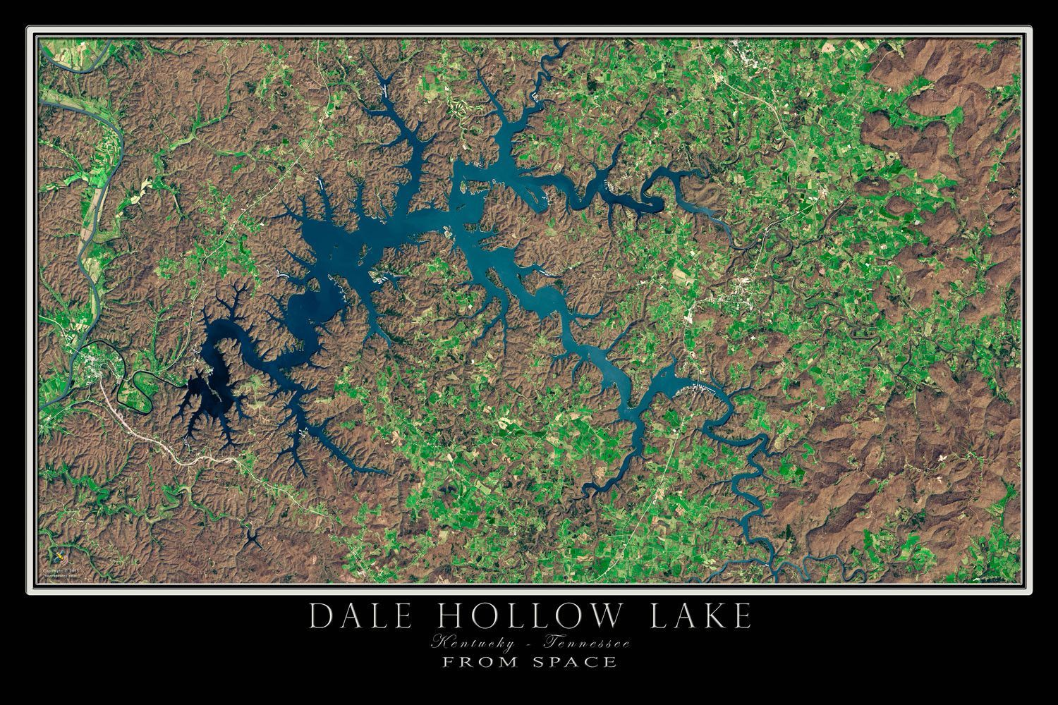 Dale Hollow Lake Kentucky Tennessee Satellite Poster Map