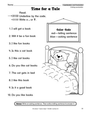 math worksheet : reading activities for kindergarten printable  google search  : Punctuation Worksheets For Kindergarten