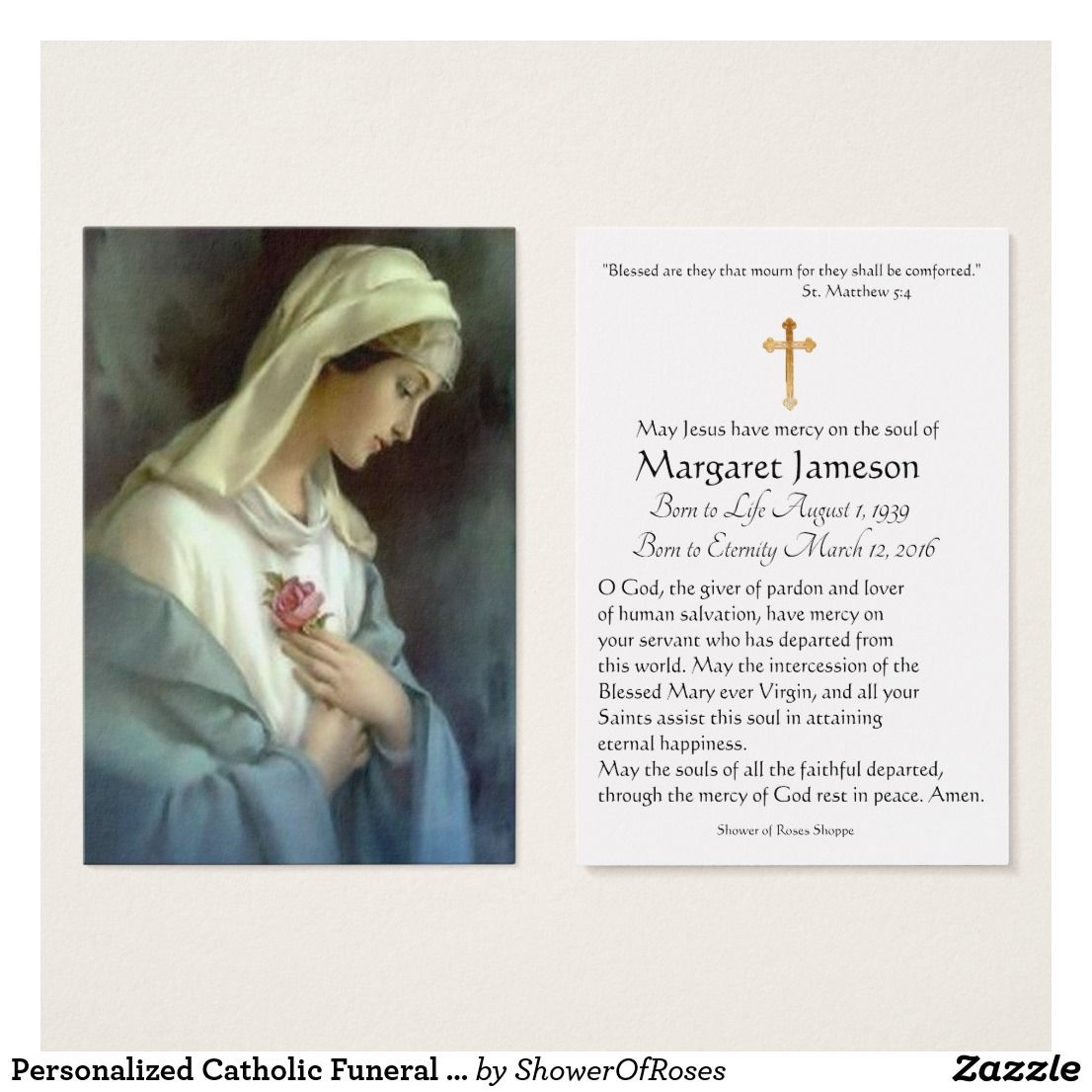 Virgin Mary Catholic Funeral Memorial Holy Card Zazzle Com