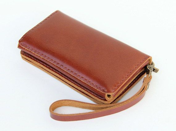 Leather iPhone wallet case with mini zipper in by BluePetalz, $35.00