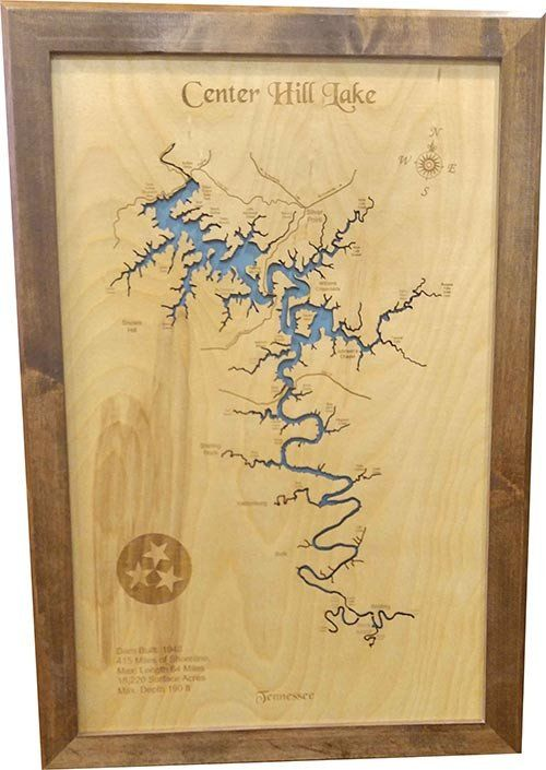 Center Hill Lake Tennessee Map.Center Hill Lake Tennessee Wood Laser Cut Map Lake House