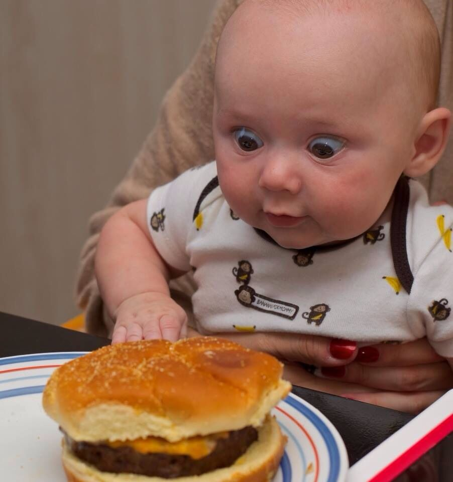 Image result for baby eating junk food