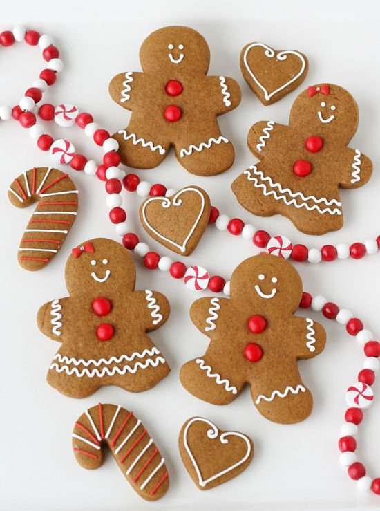 Gingerbread Cookies - Perfectly cute and classic! no step by step but recipes for gingerbread dough and icing are at beginning of post from Glorious Treats