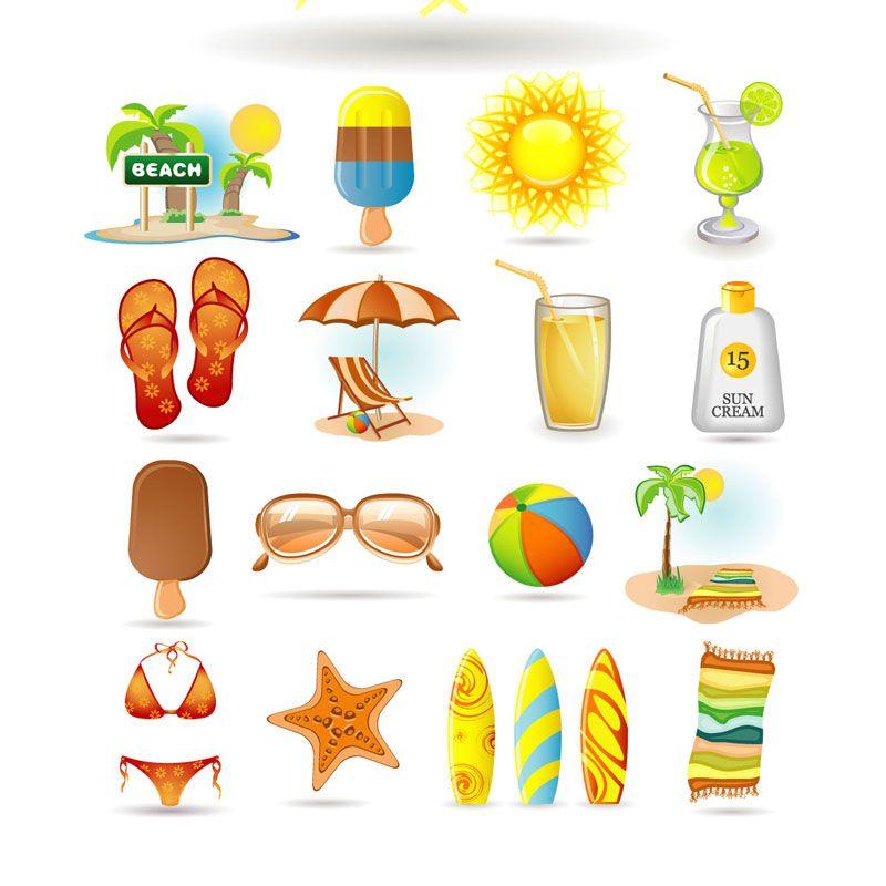 Free printable summer clip art set of vector summer