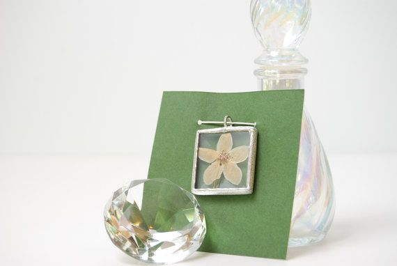 Real Wildflower Necklace Bevel Glass Pendant by BayouGlassArts, $32.00